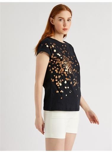 Vekem-Limited Edition Sim Baskılı %100 Pamuk T-Shirt Siyah